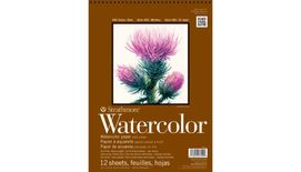 Strathmore 400 Series Watercolor 9''x12'' Natural White Medium Grain 300 GSM Paper, Short-Side Spiral Bound Album of 12 Sheets