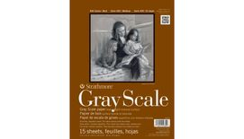 Strathmore 400 Series Gray Scale 9''x12'' 5 Assorted Greys Woven 216 GSM Paper, Short-Side Glue Bound Pad of 15 Sheets