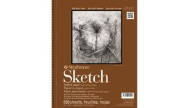 Strathmore 400 Series Sketch 14''x17'' White Fine Tooth 89 GSM Paper, Long-Side Micro-perforated Album of 100 Sheets