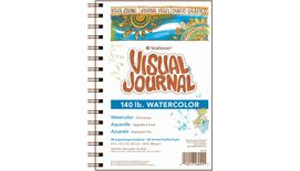 Strathmore 400 Series Visual Journal - Watercolor - 5.5''x8'' - Natural White - Medium Grain - 300 GSM Paper, Long-Side Spiral Bound - 44 Sheets