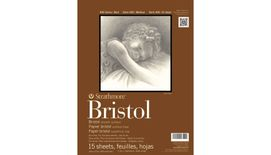Strathmore 400 Series Bristol 14''x17'' Extra White Extra Smooth 270 GSM Paper, Long-Side Tape Bound Pad of 15 Sheets