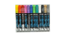 Pebeo SetaSkrib+ Opaque Marker - Broad Tip (3-4 mm) - Assorted Set of 12 Fabric Markers