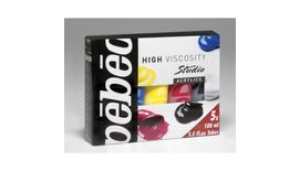 Pebeo Studio Acrylics High Viscosity Paint - 100 ml tubes - Assorted Set of 5 primary colours