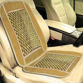 Speedwav Car Wooden Bead Seat Cushion with Beige Velvet Border