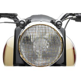 Speedwav Mesh Bike Headlight Grill Cover-Golden for Royal Enfield