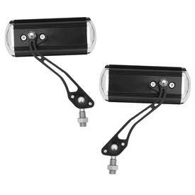 Speedwav Black-n-Silver Rectangle Rear View Mirror Set of 2