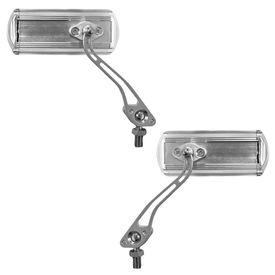 Speedwav Silver Rectangle Rear View Mirror Set of 2