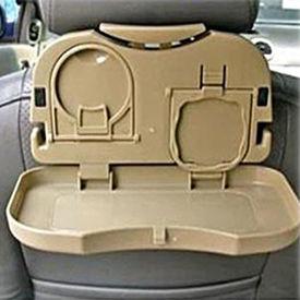 Speedwav Foldable Car Travel Dining Tray / Rack / Bottle Holder BEIGE- Set of 2