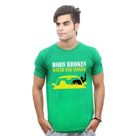 Jazzmyride Round Neck Half Sleeve T-Shirt-Horn Broken - Green