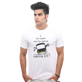 Jazzmyride Round Neck Half Sleeve T-Shirt-I Can Make The Car Dance - White