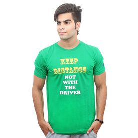 Jazzmyride Round Neck Half Sleeve T-Shirt-Keep Distance - Green