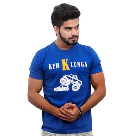 Jazzmyride Round Neck Half Sleeve T-Shirt-Keh K Lunga - Royal Blue