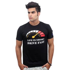 Jazzmyride Round Neck Half Sleeve T-Shirt-Life Is Short Drive Fast - Black