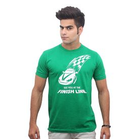 Jazzmyride Round Neck Half Sleeve T-Shirt-See U At The Finish Line - Green