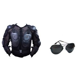 Fox Bike Riding Armor Jacket + Classic Black Aviator with Carry Case