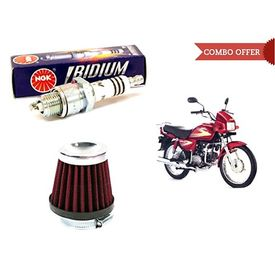 NGK Iridium Bike Spark Plug+HP Air Filter