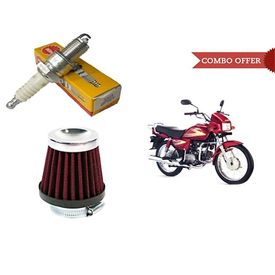NGK Conventional Bike Spark Plug+HP Air Filter