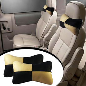 Speedwav Designer Car Seat Neck Cushion Pillow - Black and Beige Colour