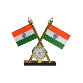 Indian Flag With Clock For Car