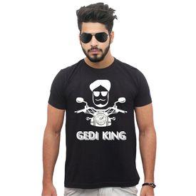 Jazzmyride Round Neck Half Sleeve T-Shirt-Gedi King - Black