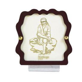 Lord Sai Baba 24 Carat Gold Plated Elegant Glass Framed Car Deity Idol