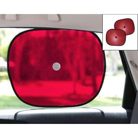 Car Side Window Sunshades Stick On Sun Shade - Set Of 2 Pcs (Red)