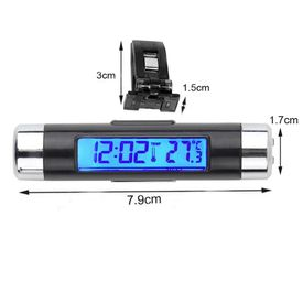 Speedwav Car Digital Blue Thermometer Clock Chrome Black CT20