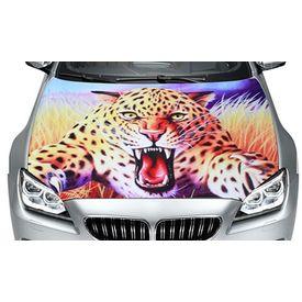 Speedwav Car Hood Bonnet Vinyl Decal Jumping Leopard Dark