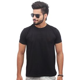 Jazzmyride Round Neck Half Sleeve T-Shirt-Black