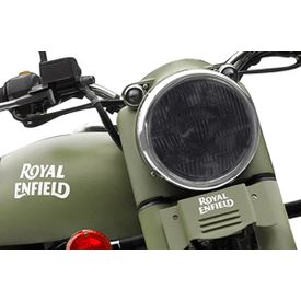 Speedwav Bike Headlight Replacement Flat Glass Black for Royal Enfield