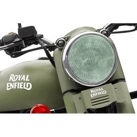 Speedwav Bike Headlight Replacement Flat Glass Green for Royal Enfield