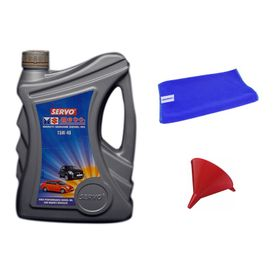 Servo Car MGDO 15W40 3.5 Litre Engine Oil+Microfiber Cloth+Funnel