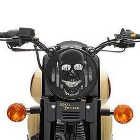 Speedwav Bike Headlight Mat Black Skull Cover for Royal Enfield