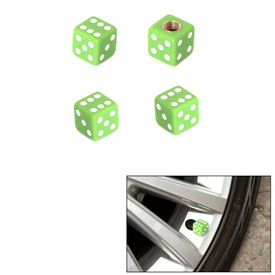 Speedwav Car/Bike Stylish Dice Tyre Valve Caps Set of 4-Green