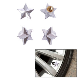 Speedwav Car/Bike Star Tyre Valve Caps Set of 4-Chrome