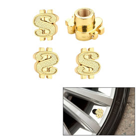 Speedwav Car/Bike Golden Doller Tyre Valve Caps Set of 4