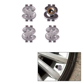 Speedwav Car/Bike Silver Doller Tyre Valve Caps Set of 4
