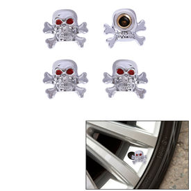 Speedwav Car/Bike Skull Tyre Valve Caps Set of 4-Chrome