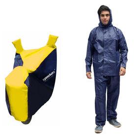 Speedwav Sporty Bike Body Cover BLUE & YELLOW+Rain Suit Navy Blue-Size 42