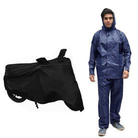 Speedwav Bike/Scooter Body Cover With Mirror Pockets+Rain Suit Navy Blue-Size 42