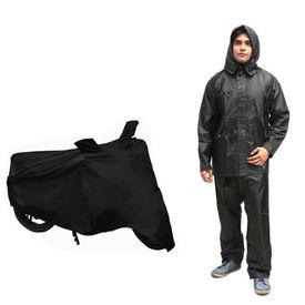 Speedwav Bike/Scooter Body Cover With Mirror Pockets+Rain Suit Black-Size 42