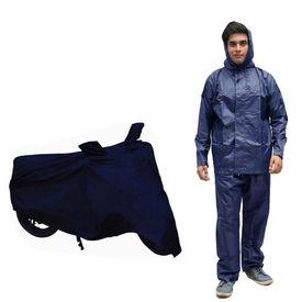 Speedwav Champion Bike Body Cover+Rain Suit Navy Blue-Size 42