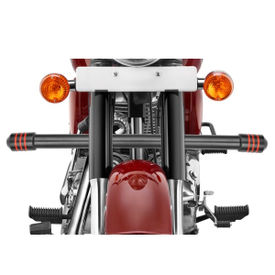 Speedwav Single Rod Bike Leg Crash Guard-Black 3 Red Rings for Royal Enfield