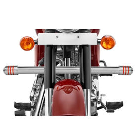 Speedwav Single Rod Bike Leg Crash Guard-Chrome 3 Red Rings for Royal Enfield