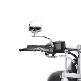Chrome Skull Rear View Mirror Set of 2 for Harley Davidson
