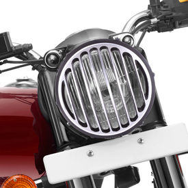 Speedwav Bike Headlight Grill Cover Vertical CNC Black for Royal Enfield