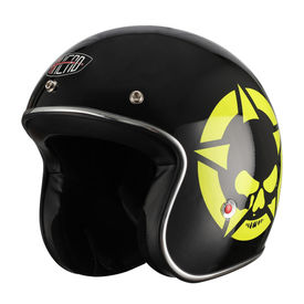 AHEAD Open Face Helmet Jet Style Skull Star Glossy Black and Neon Size-XL