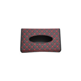Speedwav Leatherette Diamond Design Car Foldable Tissue Holder Box-Black Red