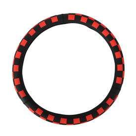 Speedwav Chequered D14RB Steering Wheel Cover-Red and Black