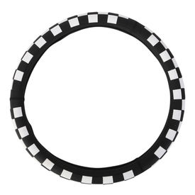 Speedwav Chequered D14WB Steering Wheel Cover-White and Black